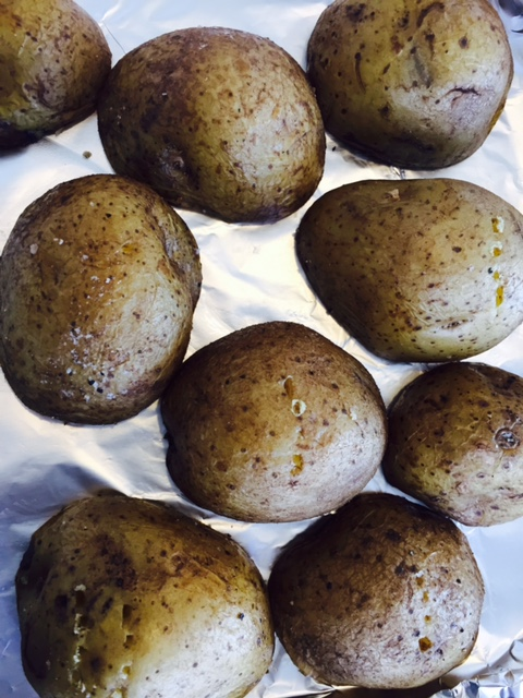 Yukon Potatoes on foil