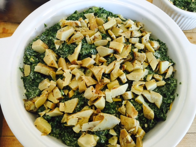kale topped with artichokes