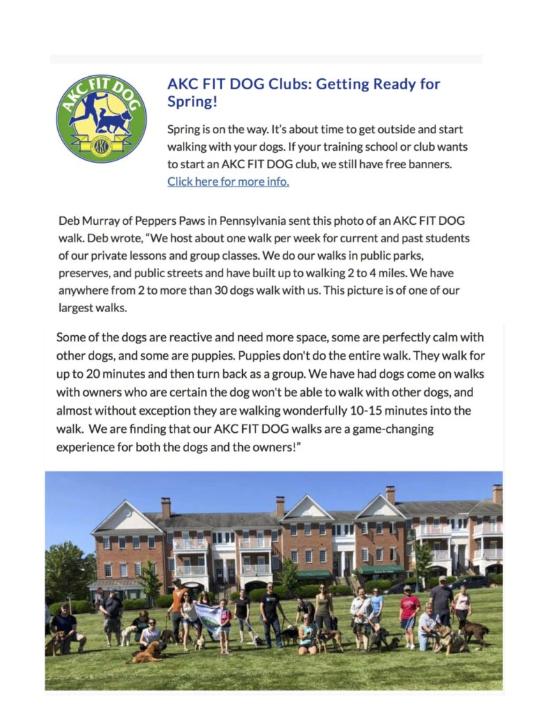 Pepper's Paws Fit Dog Club featured in February 2020 AKC CGC Evaluator's Newsletter