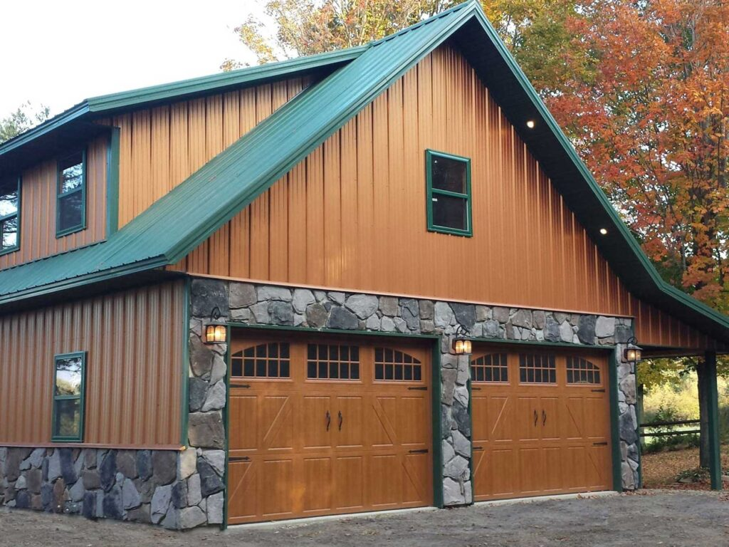 Copper Evergreen and Fieldstone Wainscot