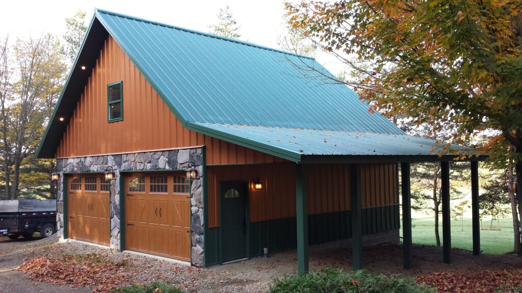 Post frame Garage with attic truss and Man cave