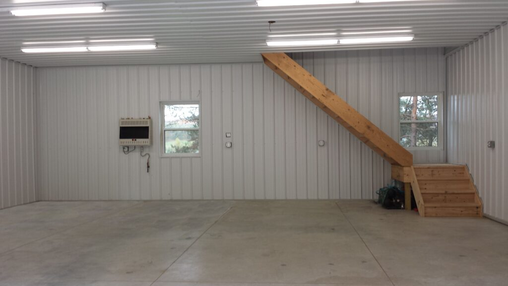 30 x 30 x 10 Post frame Garage with attic truss and Man cave