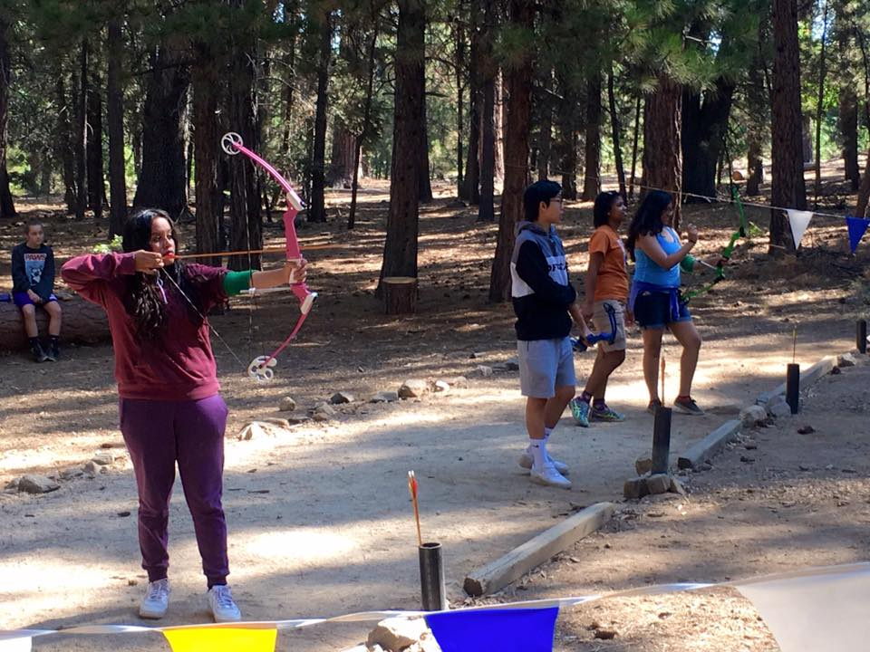 Students learn concentration and precision as they practice archery.