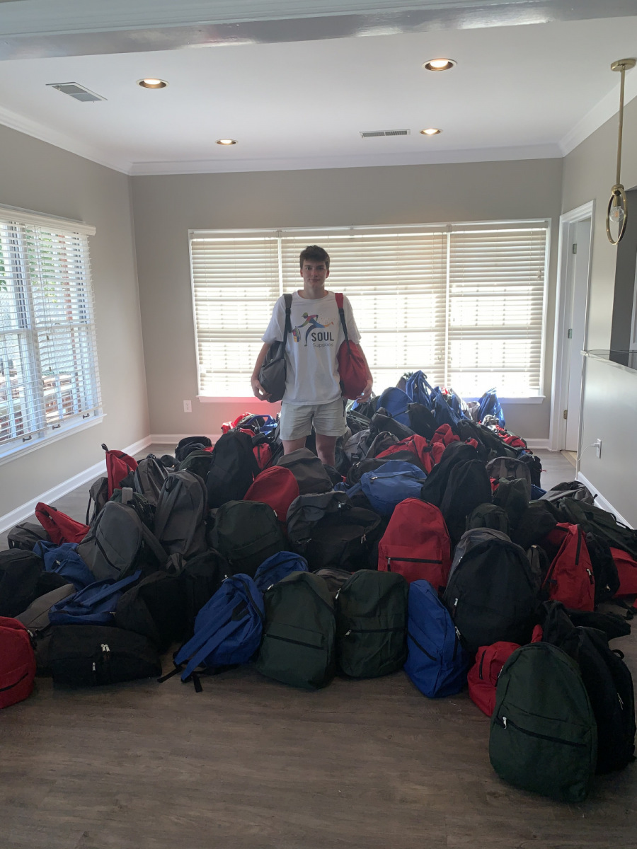 300 backpacks, ready to go!