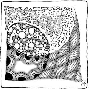 The same tile, shaded with pencil
