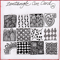 I was enthralled with the Legend card when I received my Zentangle Kit, and started making my own.  I tried for a mix of tangles: grid and organic; dense and open.