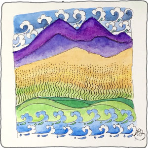 """Diva Challenge #274 took me to a campfire sing-along. From, """"My Country 'tis of Thee to This Land is Your Land"""", I sang as I tangled. Here is my mash-up tangle of purple mountains majesty and amber waves of grain contained between sea to shining sea."""