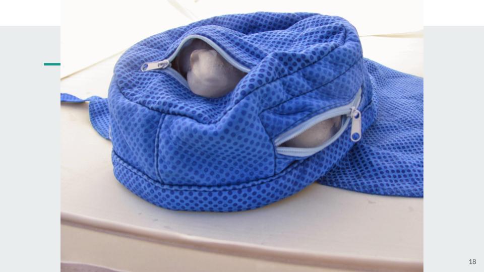 Add ice to four zipper pockets