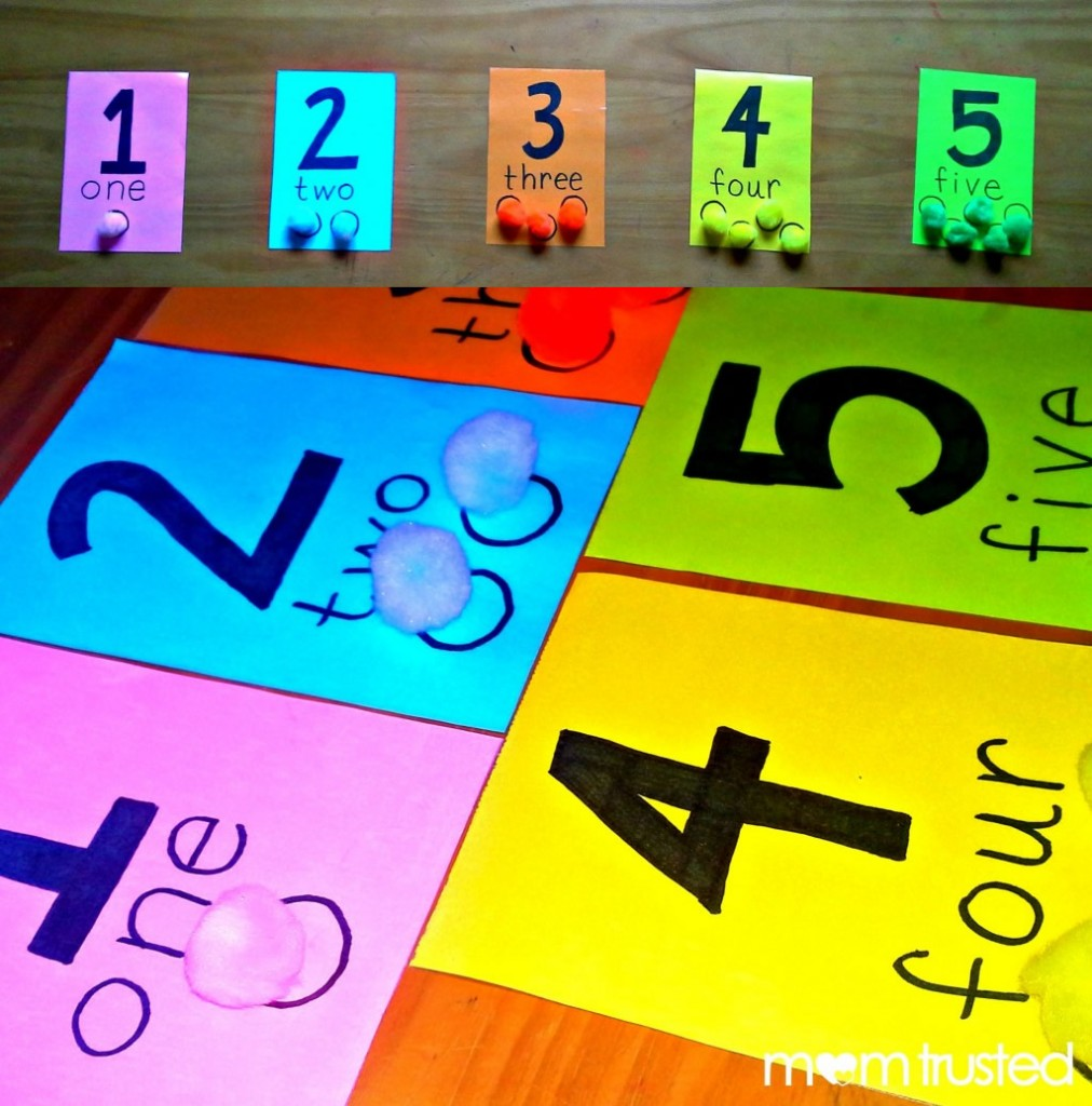 preschool counting activity with pom poms