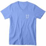 mens vneck L.I. logo (carolina blue white)