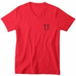 mens vneck L.I. logo (red black)