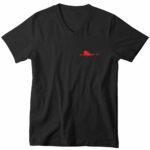 mens vneck single plane (black red)