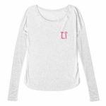 ladies raw edge long sleeve L.I. ( white pink)