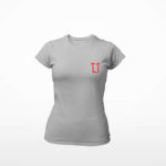 women_s tee L.I. logo (grey red)