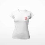 women_s tee L.I. logo (white red)