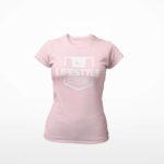 women_s tee Stamp logo (pink white)