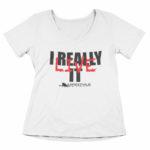 women_s vneck I Really Live it (white black red)