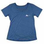 women_s vneck Single Plane logo (navy blue white)