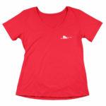 women_s vneck Single Plane logo (red white)