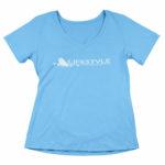 women_s vneck Original logo (carolina blue white)