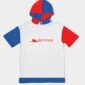 Boarding Pass hoodie red blue white