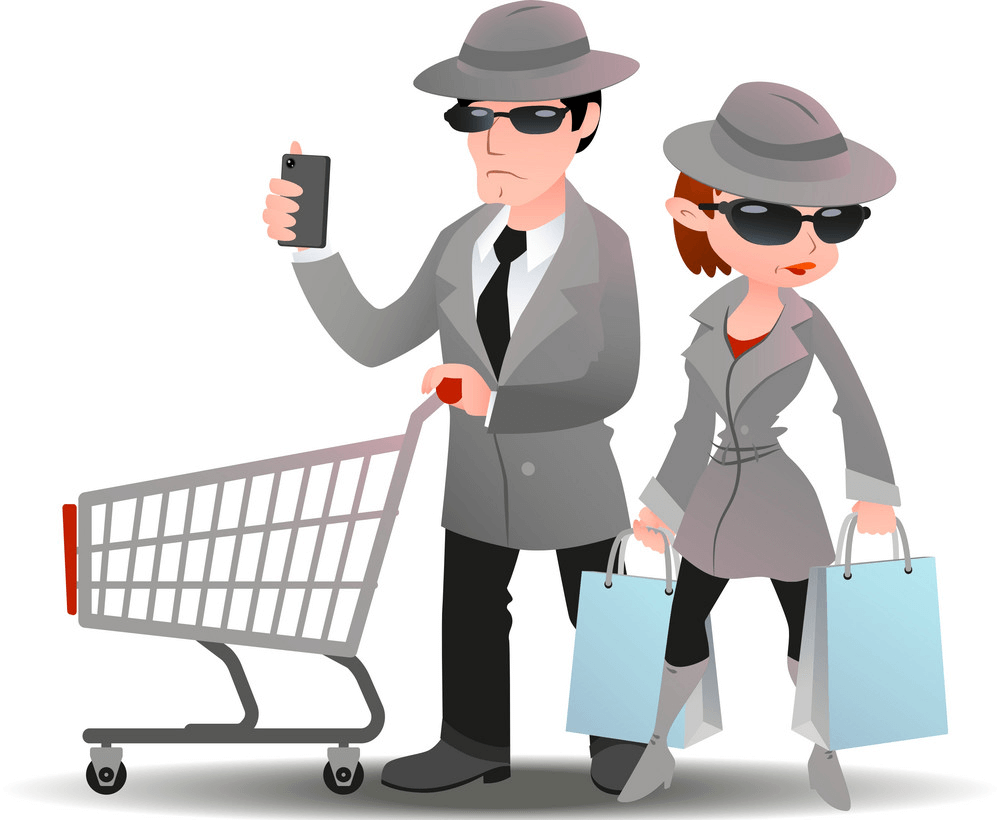 Mystery Shopper man and woman with cart and shopping bags