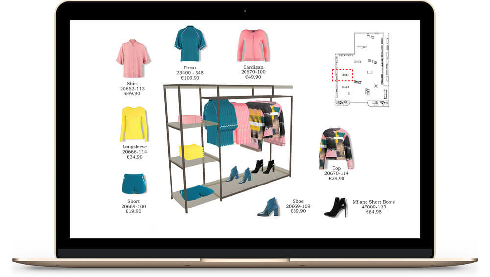 design on laptop for display of merchandise in retail store