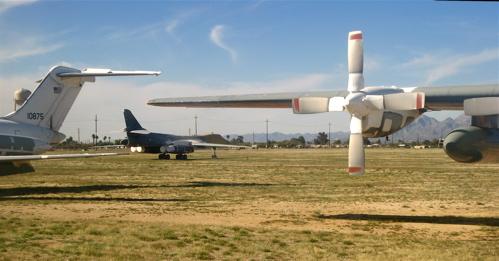 B-1 bomber with C-130 at Davis-Monthan boneyard