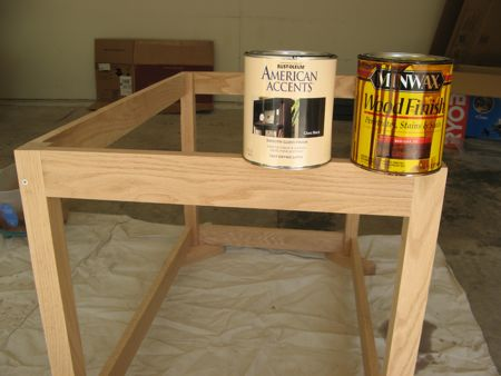 tv stand frame with paint