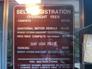 california camping fees