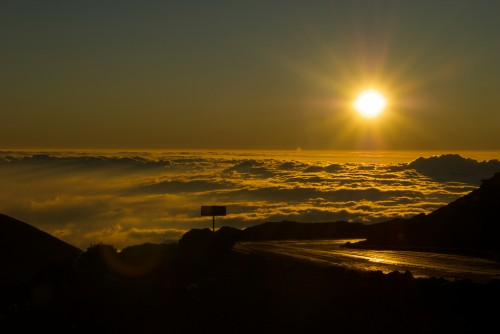 Haleakala road at sunrise