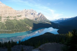 Peyto Lake with reflection and clouds.