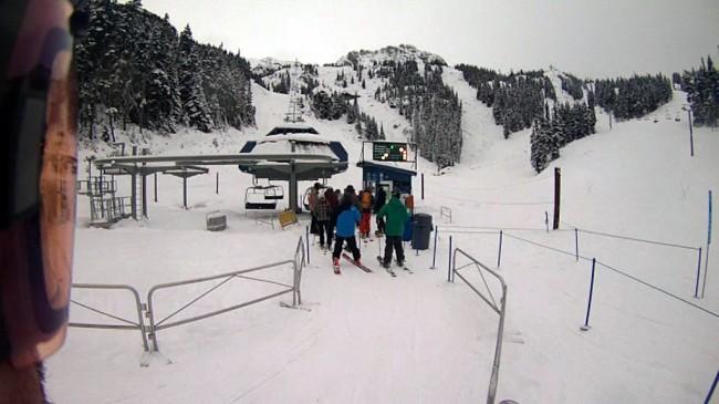 Lineup for the Glacier Lift at Blackcomb.