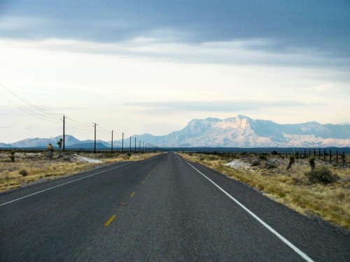 Heading toward the Guadalupe Mountains