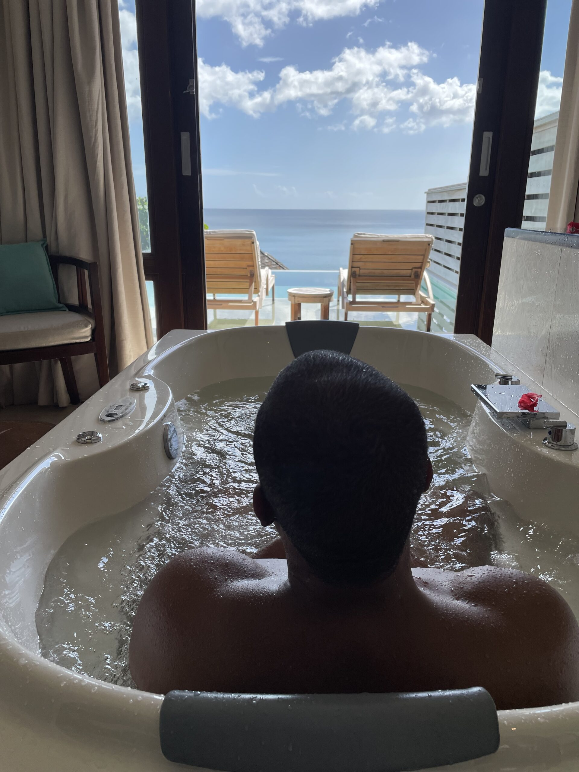 View from the tub in Seychelles