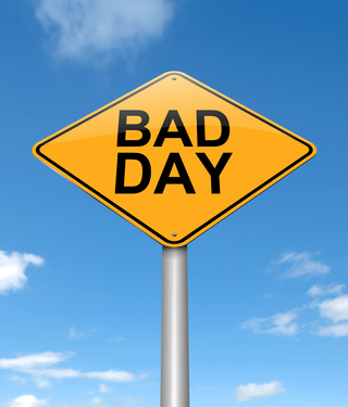 Illustration depicting a sign with a bad day concept.