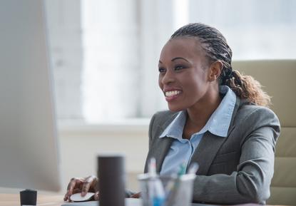 Beautiful african american businesswoman working