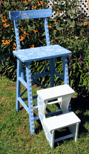 painted ladder chair by Loraine Dunn