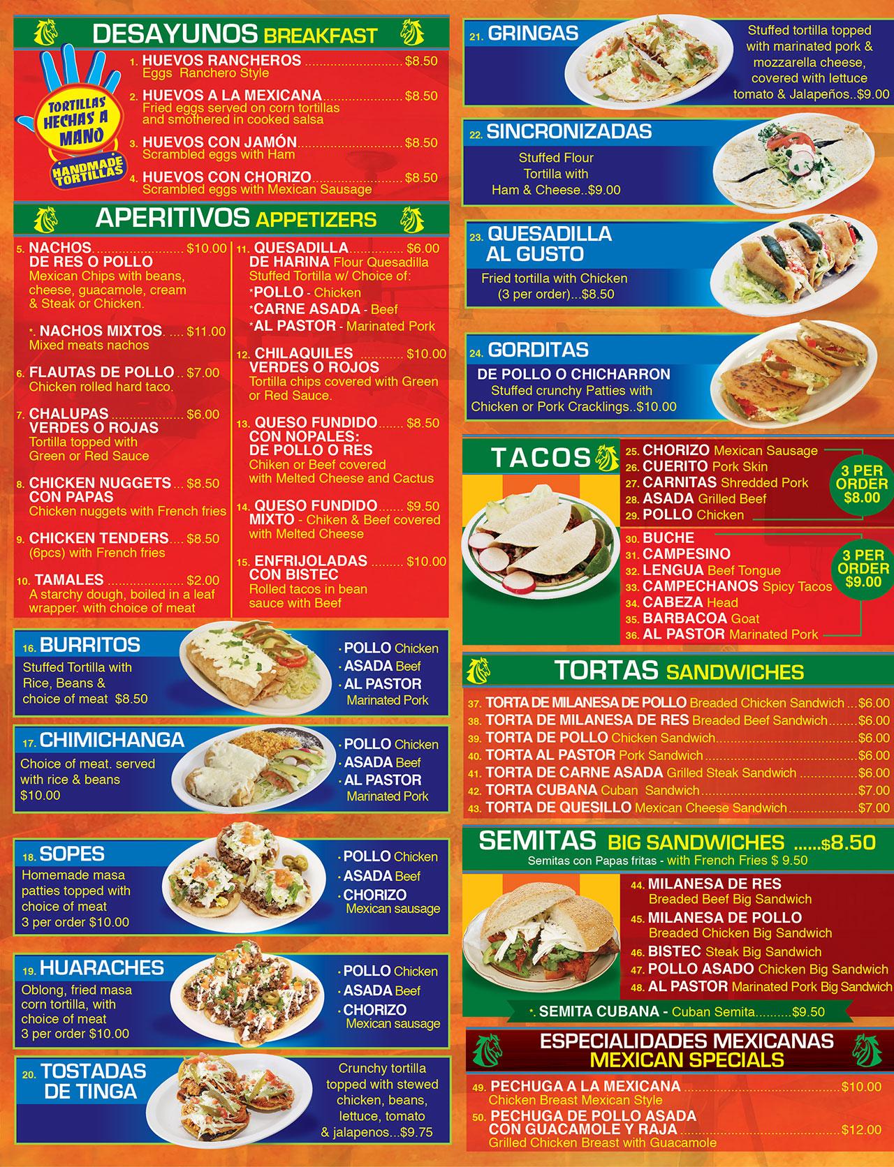 El Oaxaqueno Restaurant Long Branch Menu Page 2