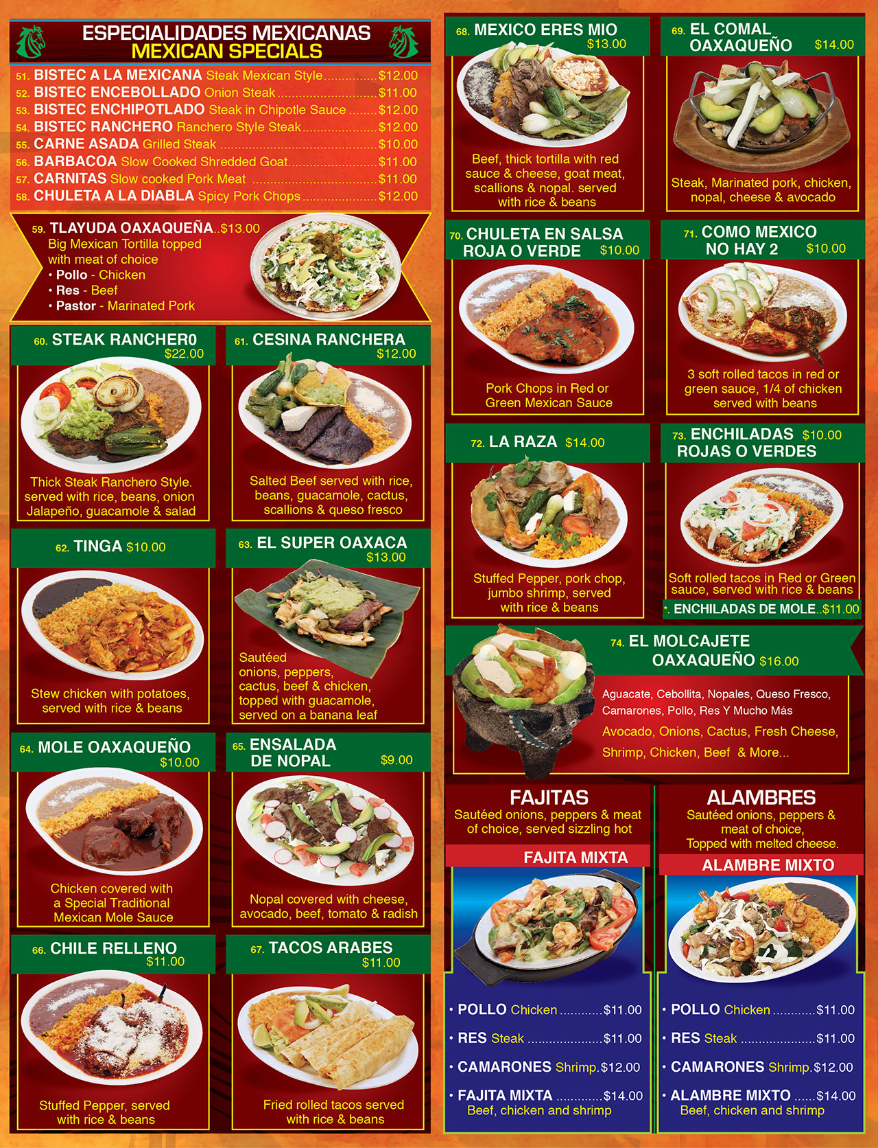 El Oaxaqueno Restaurant Long Branch Menu Page3