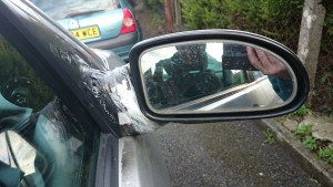 wing mirror taped on