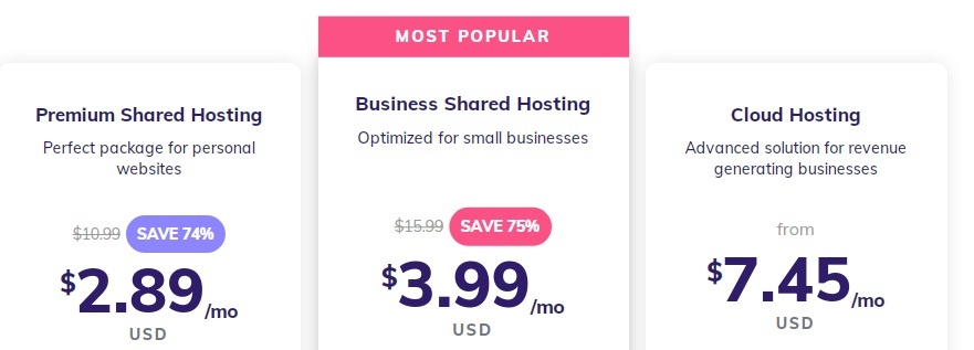 Hostinger shared hosting package