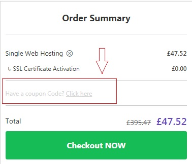 Place to paste Hostinger Uk coupon code