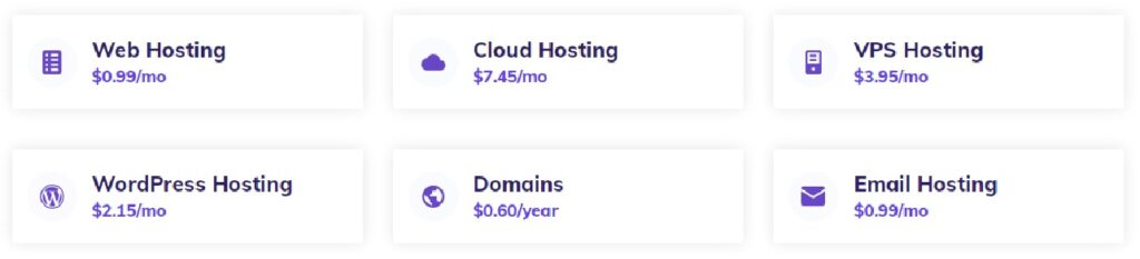 different hostinger hosting plan