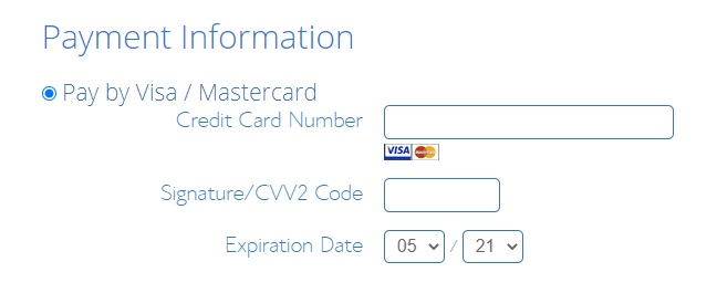 Bluehost Payment Information and methods