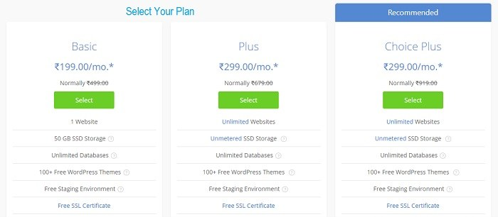 Select Your BlueHost WordPress Hosting Plan