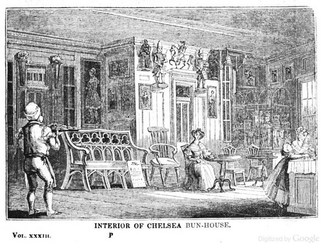 The interior of Chelsea Bun House (Image from 1839 edition of The Mirror)