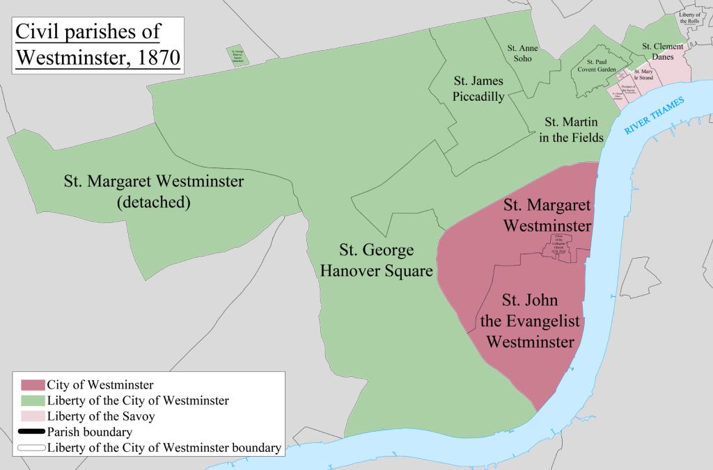 Westminster Civil Parish Map 1870