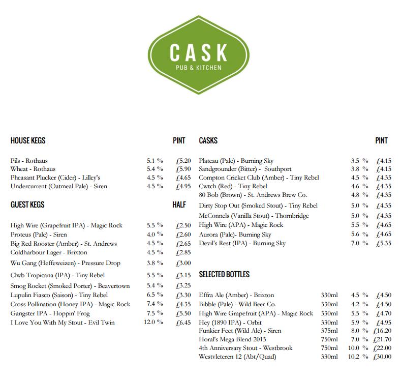 Cask Today's Beer