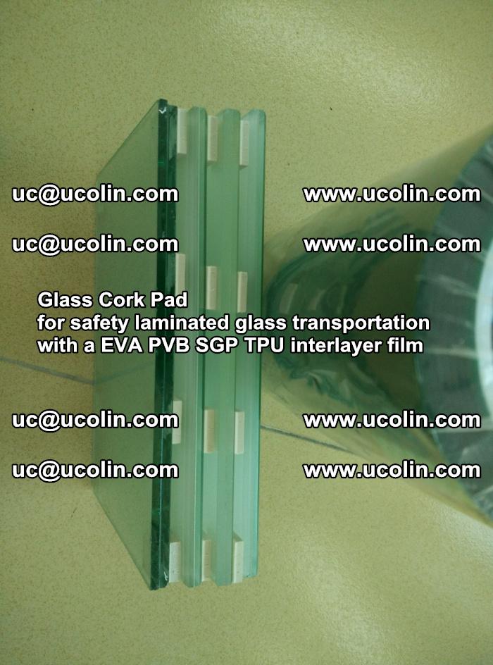 Glass Cork Pad for safety laminated glass transportation with a EVA PVB SGP TPU interlayer film (1)